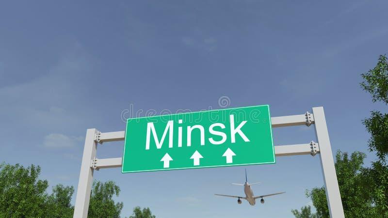 Самолет приезжая к авиапорту Минска Путешествовать к переводу 3D Беларуси схематическому стоковые изображения