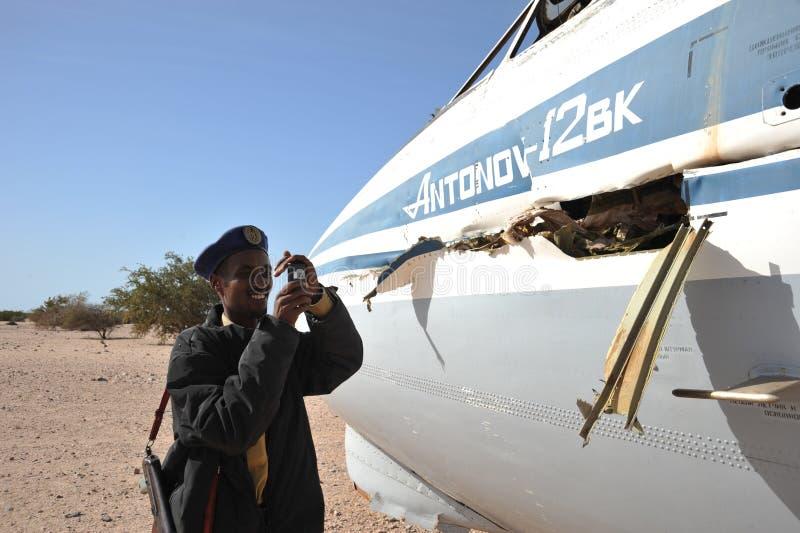 Самолет разбил на авиапорте Berbera стоковая фотография rf