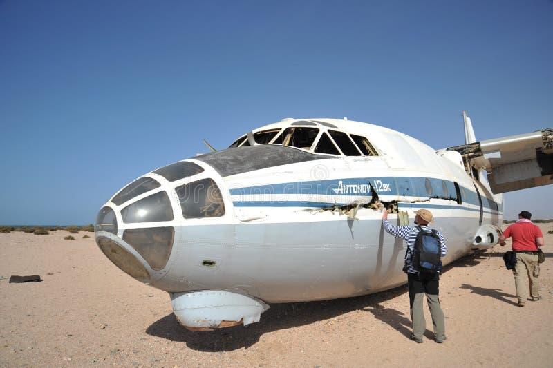 Самолет разбил на авиапорте Berbera стоковые изображения