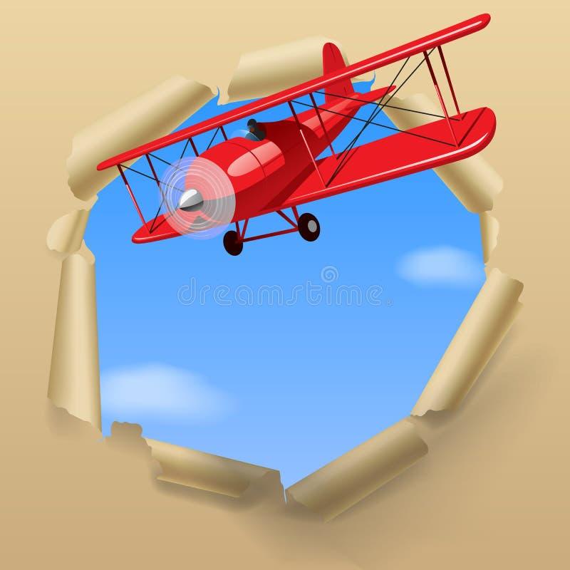 Самолет с знаменем иллюстрация штока