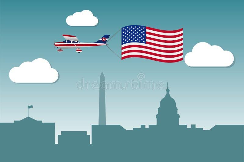 Самолет с флагом Соединенных Штатов Америки бесплатная иллюстрация