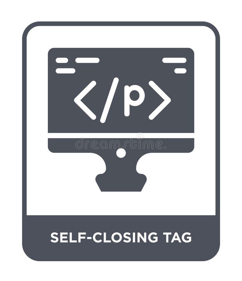 само-заключительный значок бирки в ультрамодном стиле дизайна само-заключительный значок бирки изолированный на белой предпосылке бесплатная иллюстрация