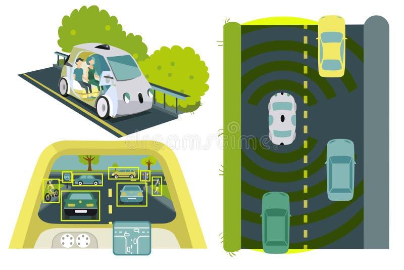 Само-управлять комплектом автомобилей красочным иллюстрация вектора