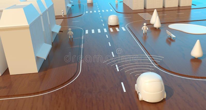 Само-управляющ автомобилями - 3D анимацией иллюстрация вектора