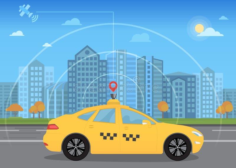 Само-управлять умным driverless автомобилем такси идет через город используя современные gps навигации иллюстрация штока