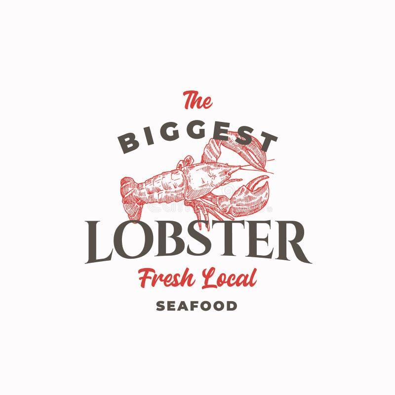 Самые большие знак вектора конспекта омара, символ или шаблон логотипа Ракы или омар руки вычерченные с первоклассное ретро иллюстрация штока