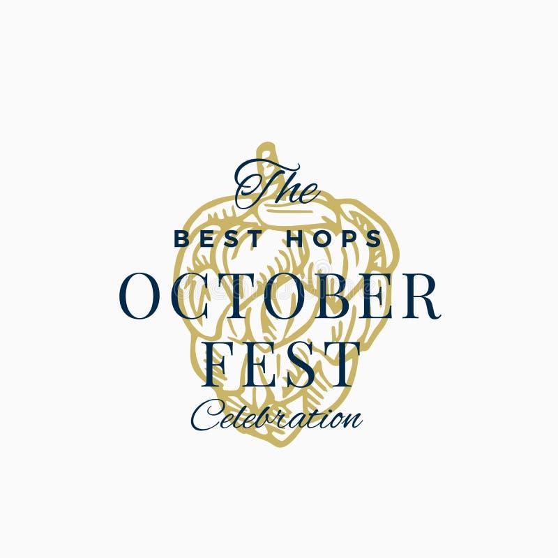 Самые лучшие знак вектора конспекта торжества Octoberfest хмелей, символ или шаблон логотипа Хмель нарисованный рукой с классичес бесплатная иллюстрация