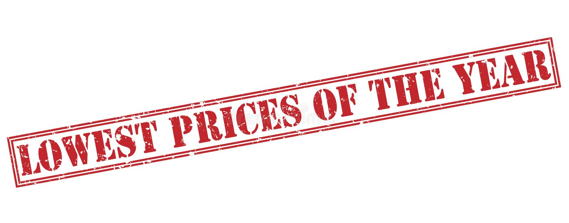 Самые низкие цены года штемпелюют на белой предпосылке иллюстрация штока