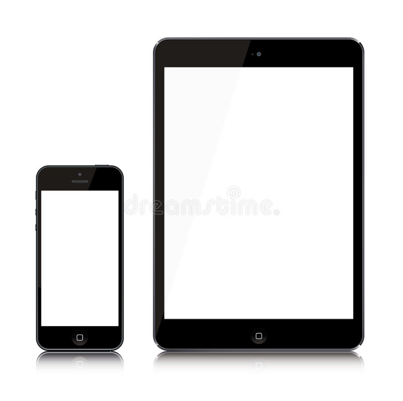 Самые последние iPad и iPhone иллюстрация вектора