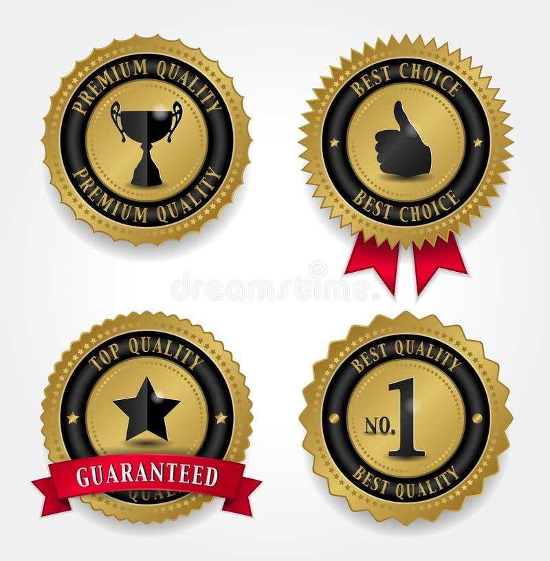 Самые лучшие знаки качества - золотые иллюстрация вектора