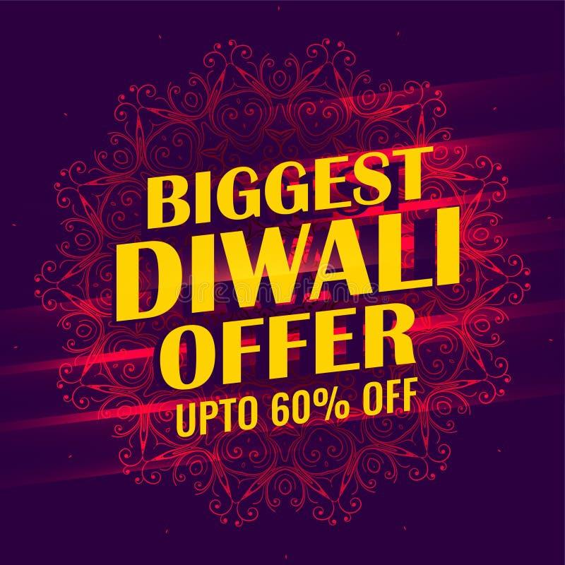 Самый большой дизайн шаблона знамени продажи diwali бесплатная иллюстрация