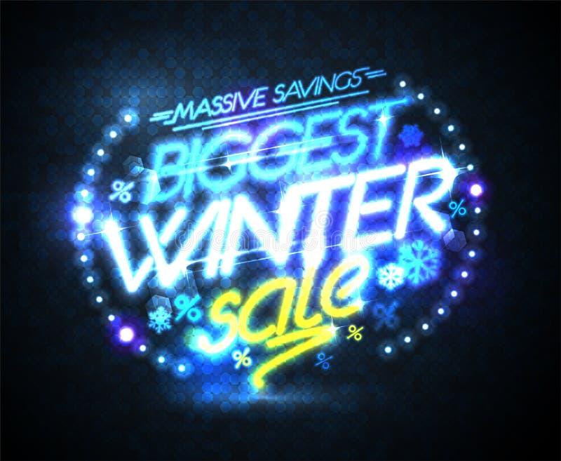Самый большой плакат вектора продажи зимы, массивные сбережения иллюстрация штока