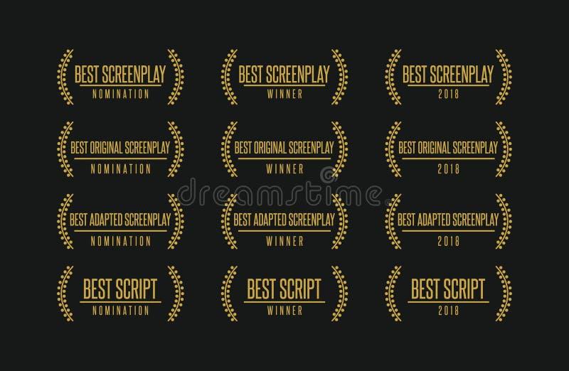 Самый лучший комплект логотипа вектора победителя награды кино сценария стоковое изображение rf