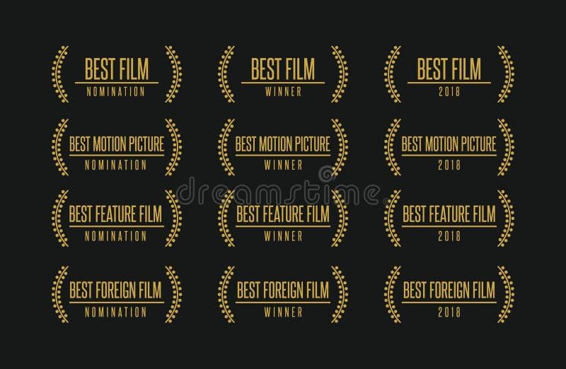 Самый лучший комплект логотипа победителя награды кино иллюстрация штока