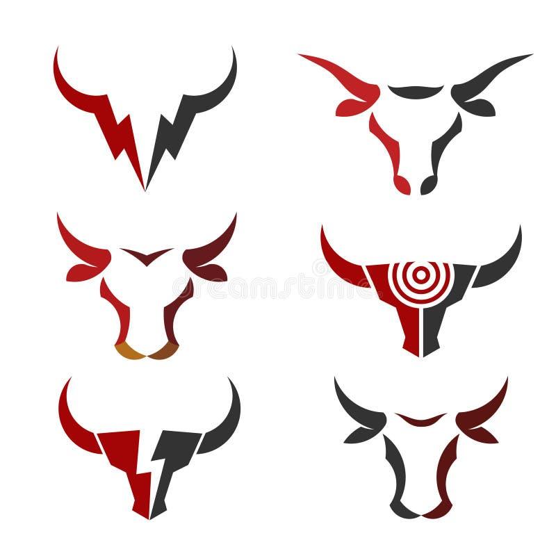 Самый лучший простой логотип вектора головы Bull иллюстрация вектора