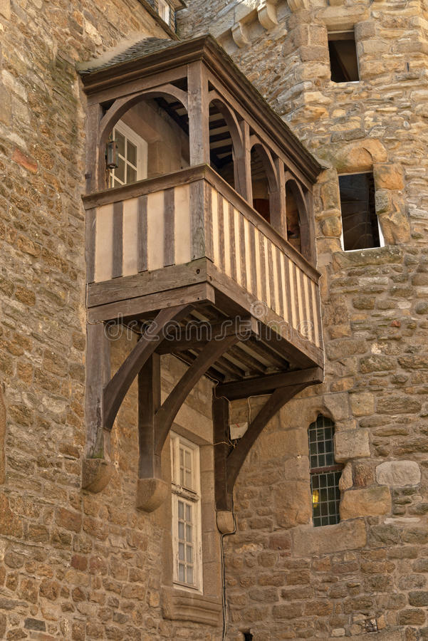 Самый старый дом с балконом Святого Malo brittani стоковые фото