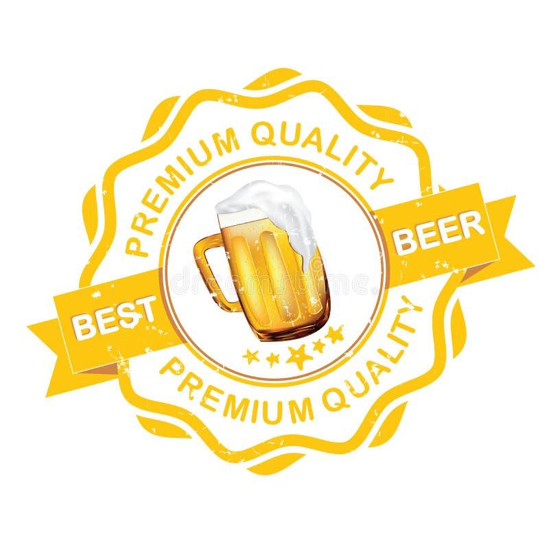 Самый лучший ярлык grunge пива с кружкой пива иллюстрация штока
