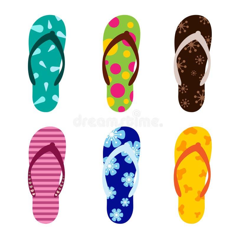 сандалии пляжа установили иллюстрация вектора