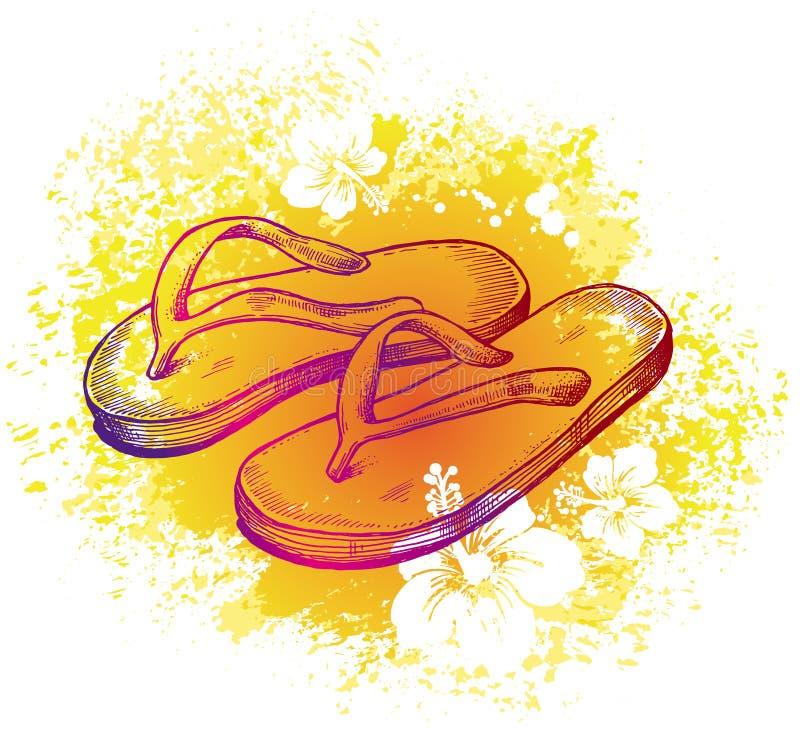 сандалии чертежа иллюстрация вектора