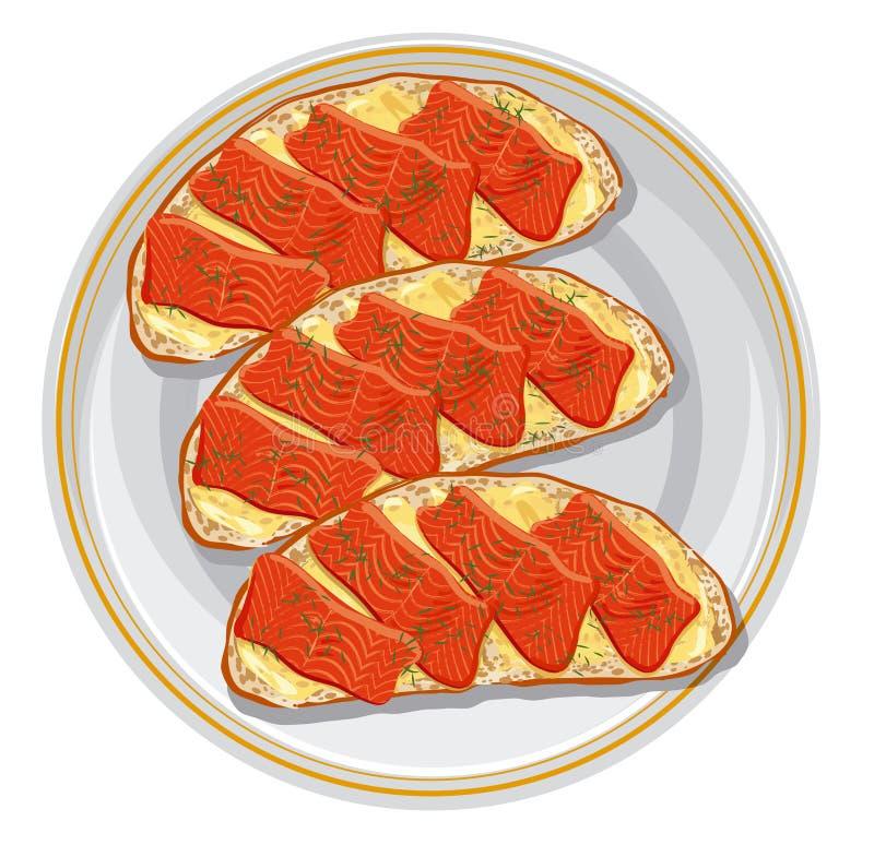 Сандвичи с семгой иллюстрация вектора
