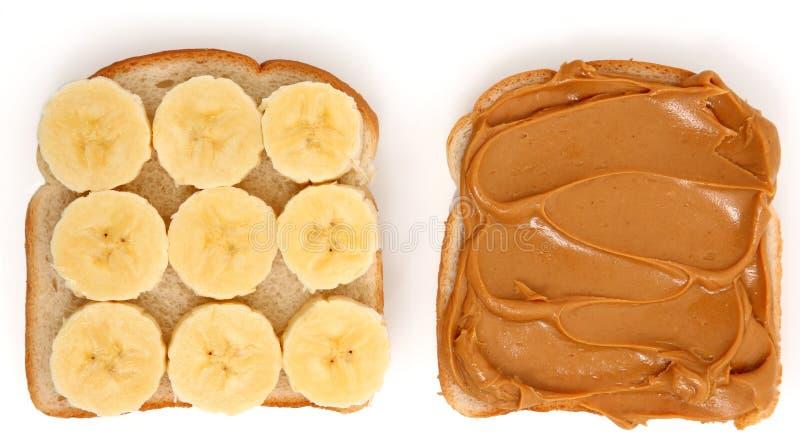 сандвич арахиса масла банана открытый стоковая фотография rf