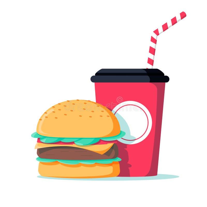 Сандвич бургера высококалорийной вредной пищи с значком питья соды Еда фаст-фуда нездоровая Завтрак улицы с cheeseburger и колой иллюстрация вектора
