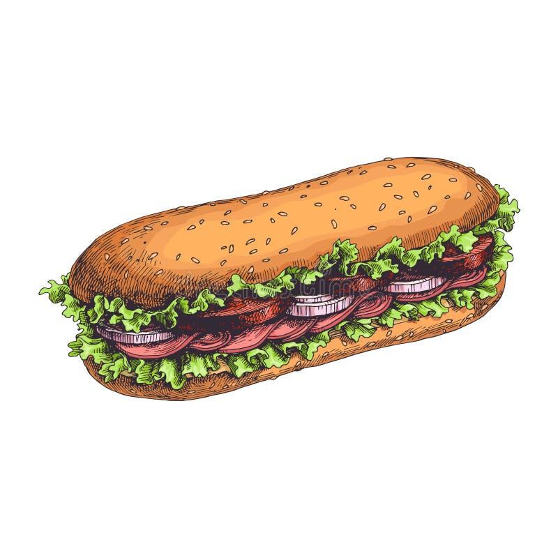 Сандвич вектора нарисованный рукой очень вкусный с свежей иллюстрация штока