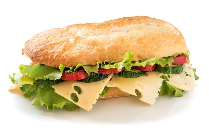 Сандвич Ciabatta с салатом, томатом, огурцом и сыром стоковая фотография rf