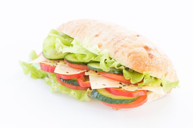 Сандвич Ciabatta с сыром на белизне стоковая фотография