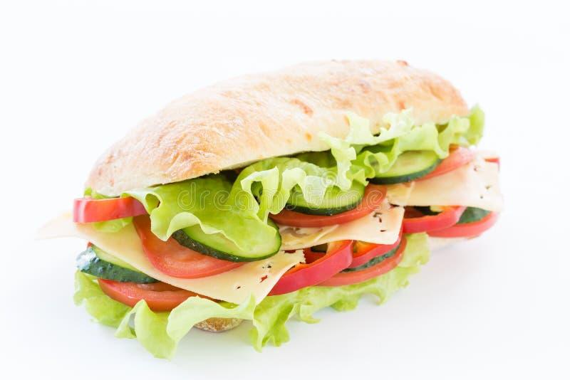 Сандвич Ciabatta с сыром на белизне стоковые изображения