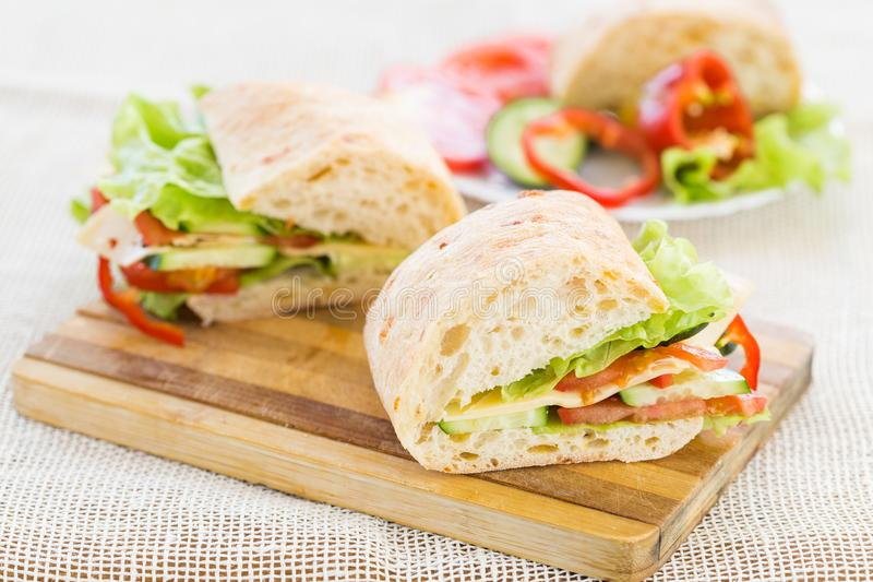 Сандвич Ciabatta с сыром стоковое фото