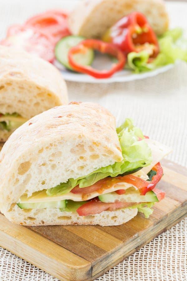 Сандвич Ciabatta с сыром стоковая фотография