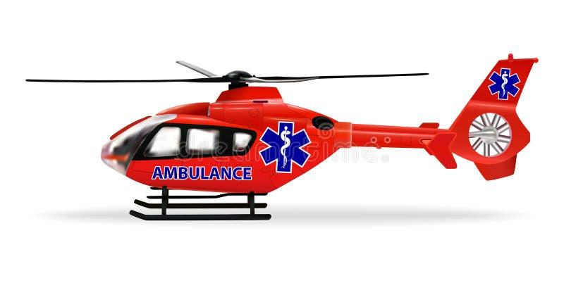Санитарная авиация специально оборудованный вертолет для аварийного транспорта больных или раненых людей Красное медицинское бесплатная иллюстрация