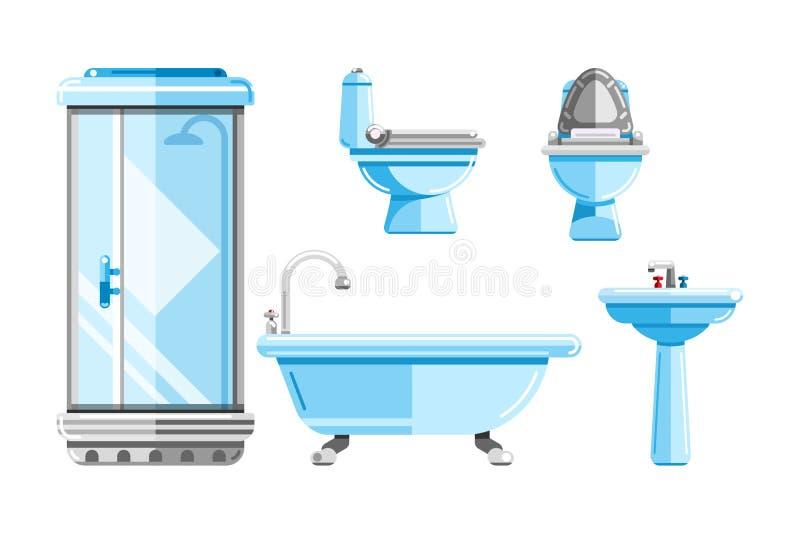 Санитарное инженерство, установленные значки Ванна, туалет, иллюстрация раковины Элементы дизайна интерьера ванной комнаты иллюстрация вектора