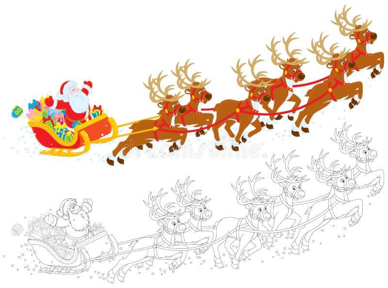 Сани Дед Мороз бесплатная иллюстрация