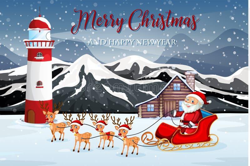 Сани катания Санта в природе иллюстрация штока