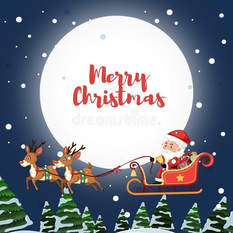 Сани катания Санта Клауса на небе иллюстрация штока