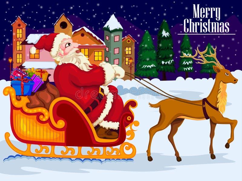 Сани катания Санта Клауса с подарком на с Рождеством Христовым и счастливый Новый Год иллюстрация штока