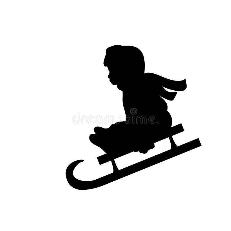 Сани катания спорта зимы девушки силуэта бесплатная иллюстрация