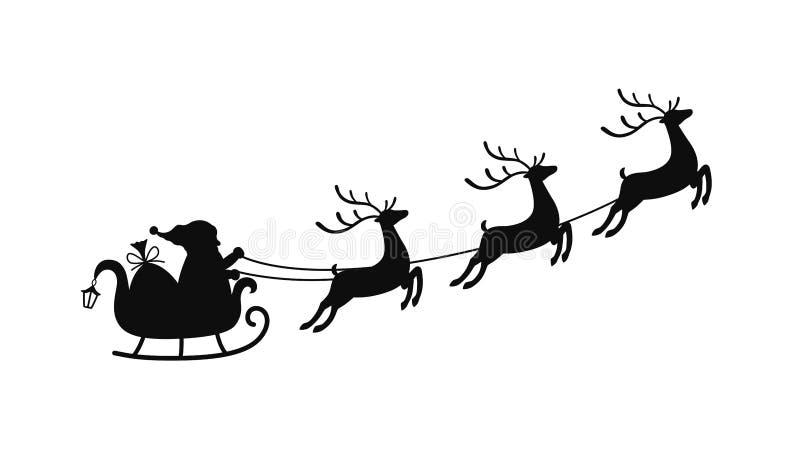 Сани мультфильма вектора с сумкой подарков и северных оленей, скелетона Санта Клауса Элемент рождества с милыми оленями иллюстрация штока