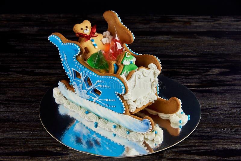 Сани пряника рождества с помадками стоковое изображение