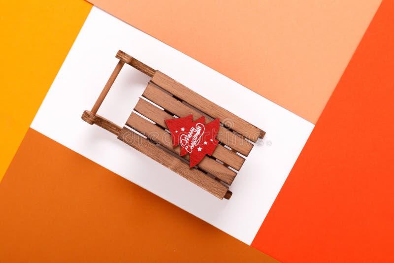 Сани рождества в рамке красочного картона стоковые изображения
