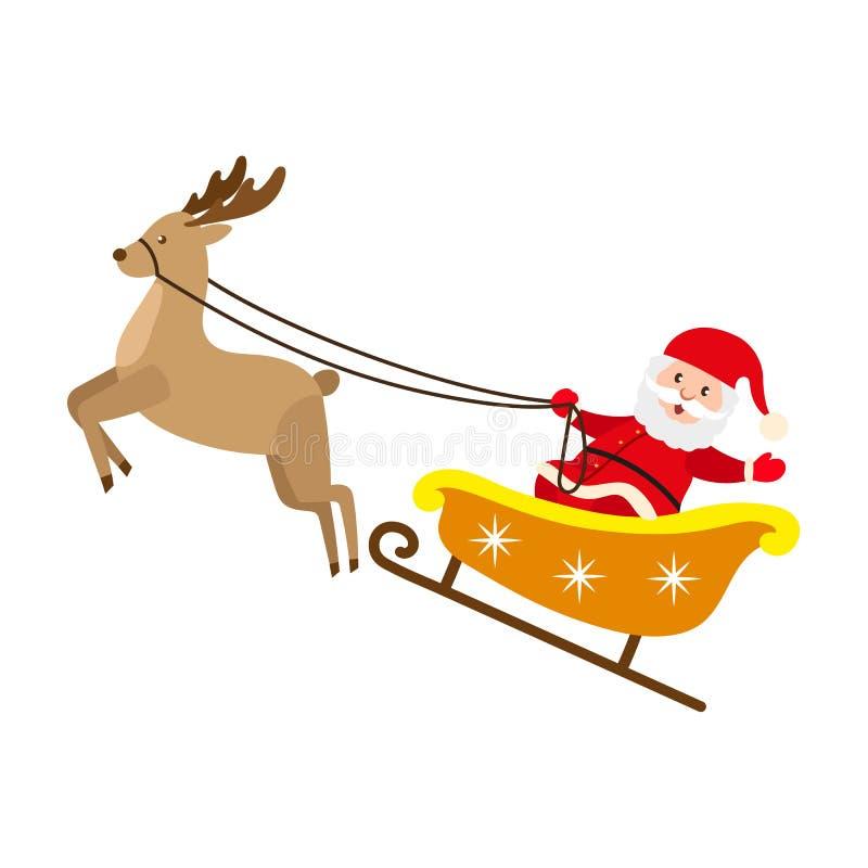 Сани рождества северного оленя катания Санта Клауса иллюстрация вектора