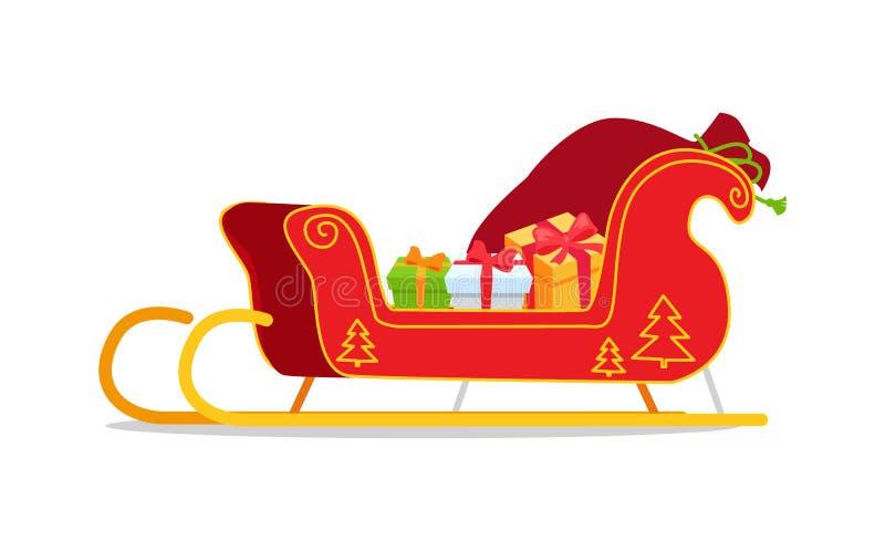 Сани рождества с иллюстрацией вектора настоящих моментов иллюстрация штока