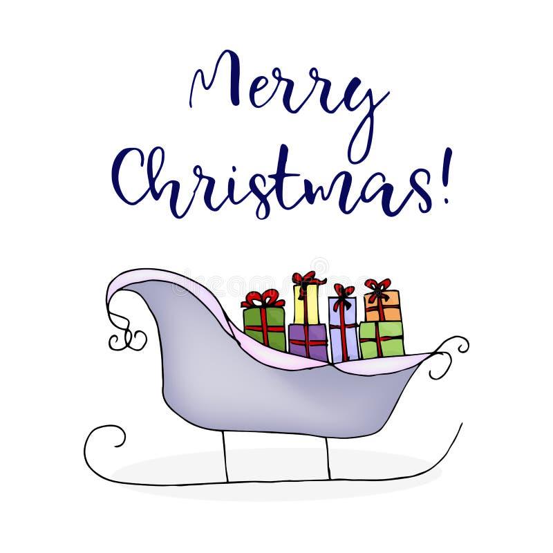 Сани рождества Santa Claus с подарками Покрашенная иллюстрация изолированная на белизне бесплатная иллюстрация