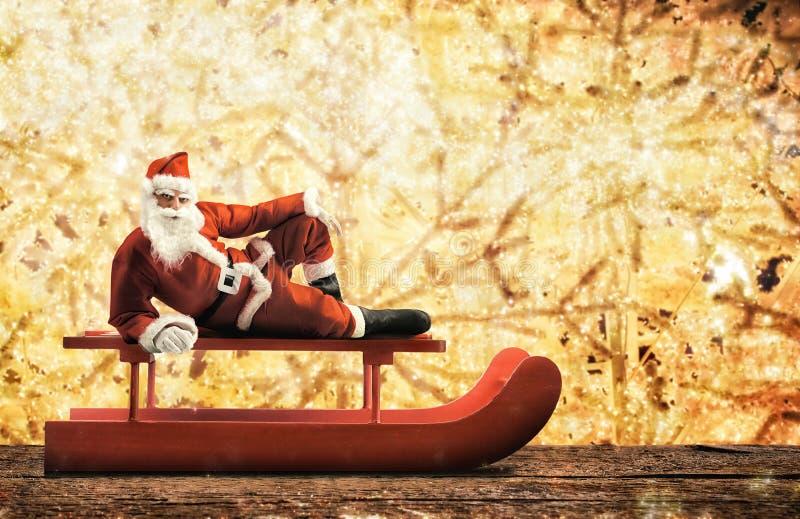 Сани рождества с Санта Клаусом стоковая фотография rf