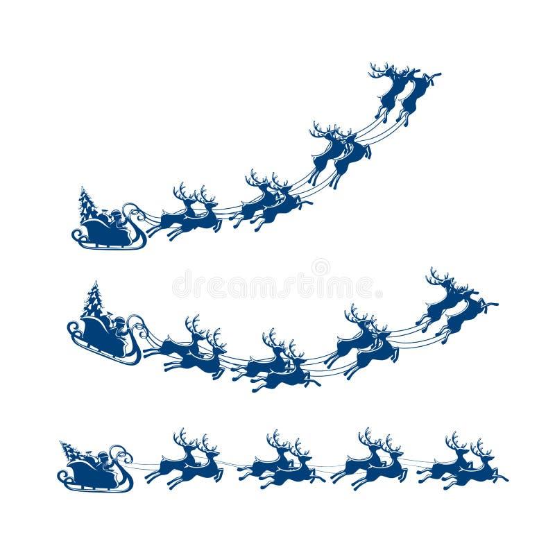 Сани рождества с северным оленем и Сантой иллюстрация вектора