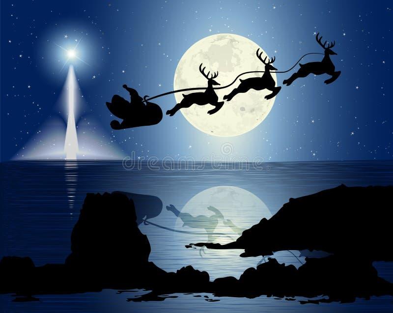 Сани Санта в лунном свете иллюстрация вектора