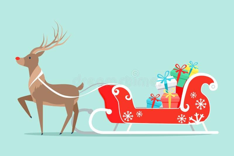 Сани Санта Клауса и иллюстрация вектора оленей иллюстрация штока