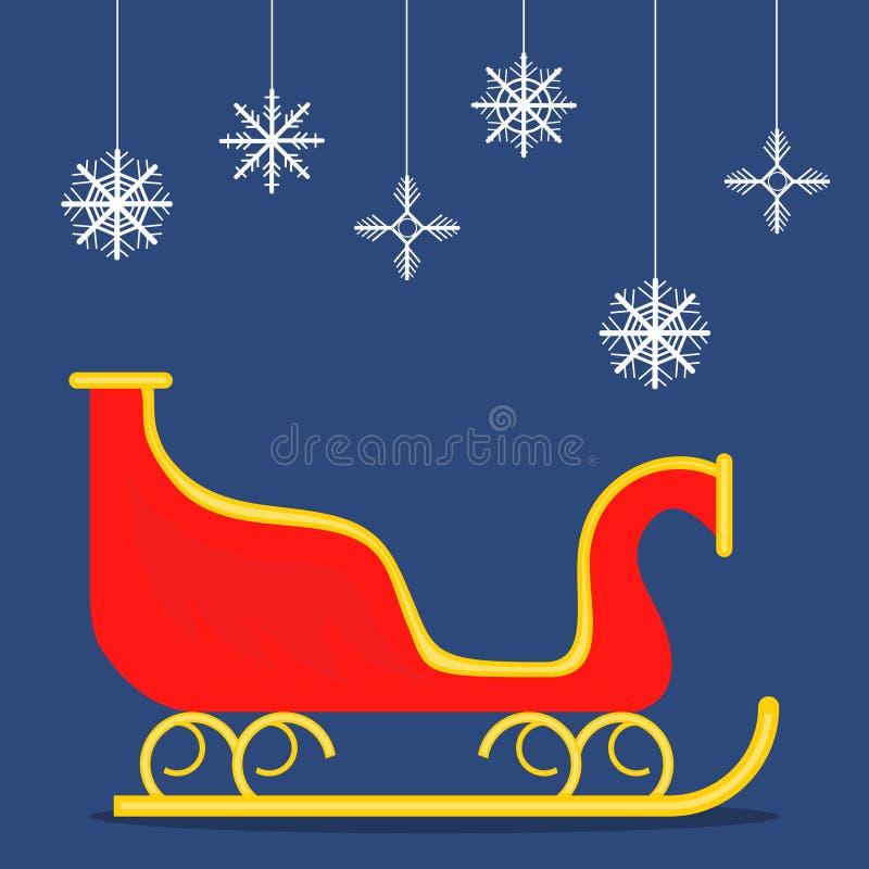 Сани Санта Клауса, красные сани на голубой предпосылке иллюстрация штока